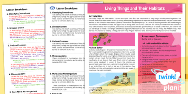 Science: Living Things and Their Habitats Year 6 Planning Overview CfE