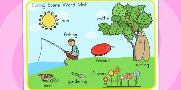 Spring Scene Word Mat - seasons, weather, visual aid, keywords