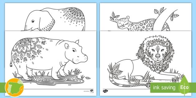 NEW * Hojas de colorear: Los animales del safari - Mindfulness