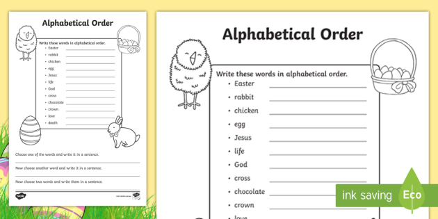 Easter Alphabetical Order Activity - Words, alphabet, jumble
