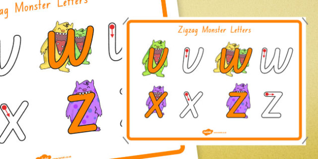 Zigzag Monster Letters Formation Display Poster Foundation - australia, letter formation, display poster, display, poster, letter, formation, zigzag monster
