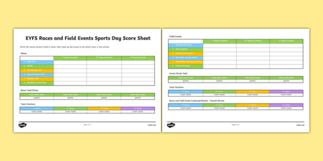 EYFS Races and Field Events Sports Day Score Sheet