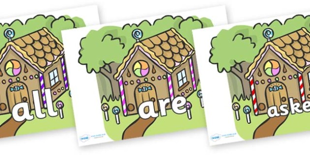 Tricky Words on Gingerbread House - Tricky words, DfES Letters and Sounds, Letters and sounds, display, words