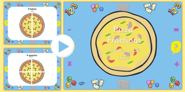 Pizza Fractions PowerPoint Arabic Translation - arabic, fractions, powerpoint, fractions powerpoint, maths, maths powerpoint, numeracy, numeracy powerpoint