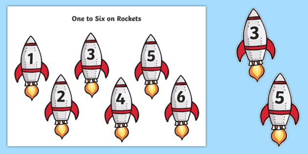 Rocket Numbers 1-6 - rocket, numbers, 1-6, display, activity, resource