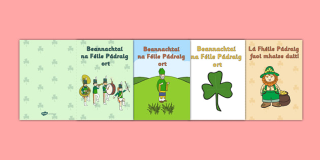 Irish Gaeilge Saint Patrick's Day Greeting Card Templates - greeting cards, templates, Irish, Saint Patrick's Day, art