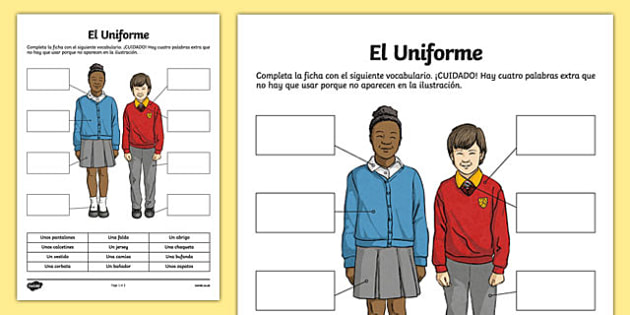 School Uniform Worksheet / Activity Sheet, worksheet