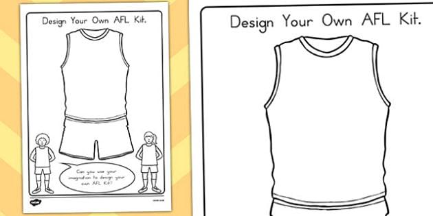 Design Your Own AFL Kit Activity - australia, sport, design