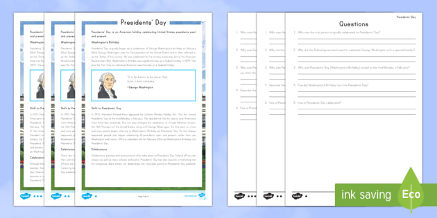 Presidents' Day Differentiated Reading Comprehension Activity - American Presidents, American History, Social Studies, George Washington, Washington's Birthday, Ab