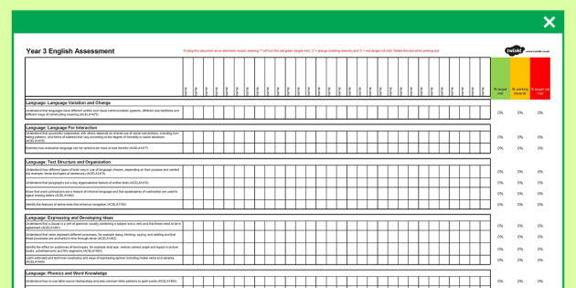 Australian Curriculum Year 3 English Assessment Spreadsheet - australia, curriculum, assessment