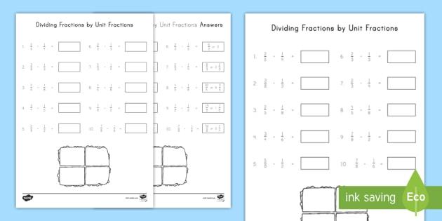 Dividing Fractions by Unit Fractions Worksheet / Worksheet ...