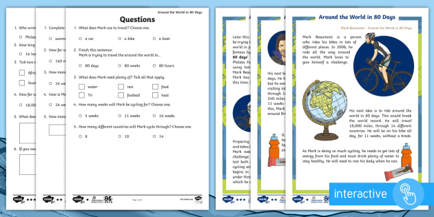 FREE! - KS1 Around the World in 80 Days Differentiated Comprehension Go