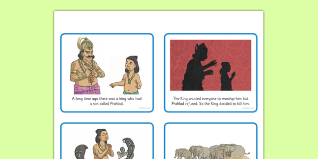 Hinduism Story of Holika and Prahlad Cards - holi, Holika, Prahlad, fire, Vishnu, Hindu, Hinduism, key stage 2, ks2, RE, religion