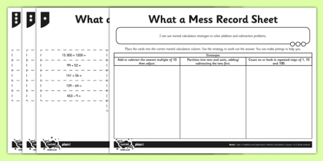 Year 5 Mental Maths Activity Pack - addition, add, subtract, subtraction, mental, mentally, mental calculations, strategy, compensation, partitioning, sorting, differentiate