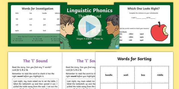 Northern Ireland Linguistic Phonics Stage 5 and 6 Phase 3a, 'l' Sound PowerPoint  - Linguistic Phonics, Phase 3a, Northern Ireland, 'l' sound, sound search, word sort, investigatio