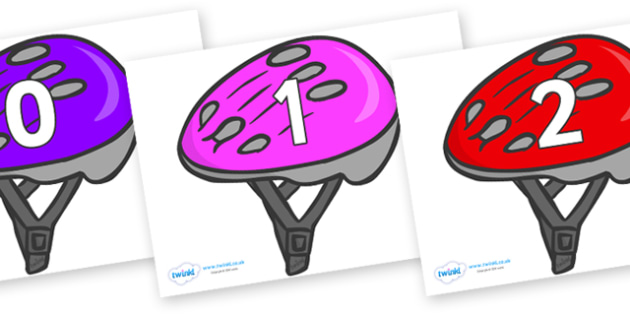 Numbers 0-50 on Bike Helmets (Multicolour) - 0-50, foundation stage numeracy, Number recognition, Number flashcards, counting, number frieze, Display numbers, number posters