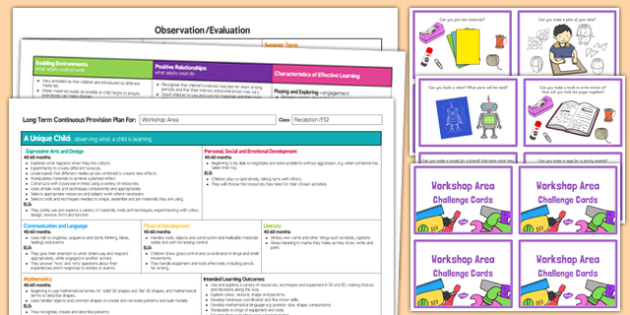 Workshop Area Editable Continuous Provision Plan and Challenge Cards Pack Reception FS2