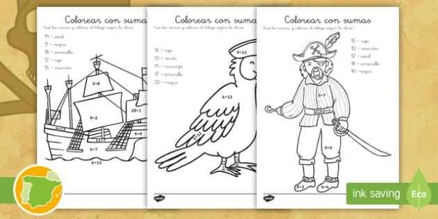 Ficha de actividad colorear con sumas piratas colorear - Colores para colorear ...