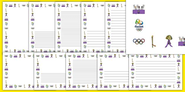 Rio Olympics 2016 Page Borders - rio 2016, rio olympics, rio olympics 2016, 2016 olympics, page borders