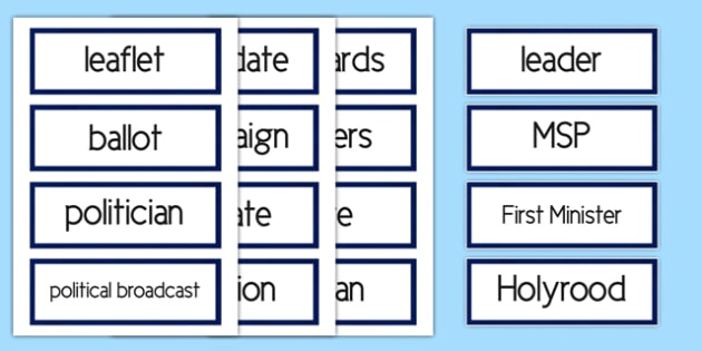 Scottish Elections 2016 Word Cards - CfE, Scotland, politics, government, parliament, elections, voting