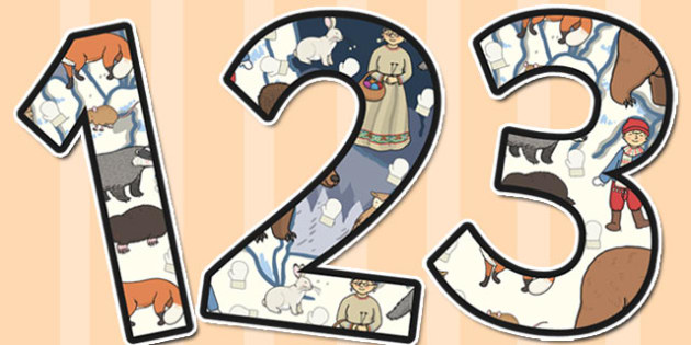 The Mitten Themed Display Numbers - the mitten, display, numbers