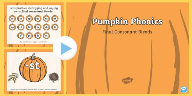 Pumpkin Phonics Final Blends Interactive PowerPoint