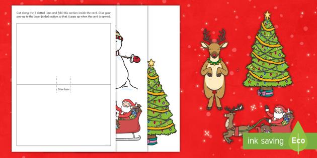 Christmas Card Template.Pop Up Christmas Card Template Xmas Card Colouring