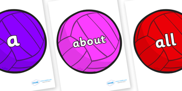 100 High Frequency Words on Water Polo Balls - High frequency words, hfw, DfES Letters and Sounds, Letters and Sounds, display words