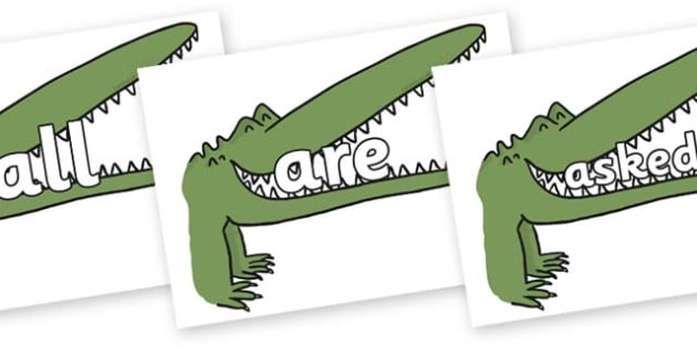 Tricky Words on Enormous Crocodile to Support Teaching on The Enormous Crocodile - Tricky words, DfES Letters and Sounds, Letters and sounds, display, words