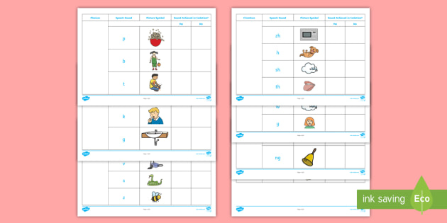 visual supports for speech sounds checklist