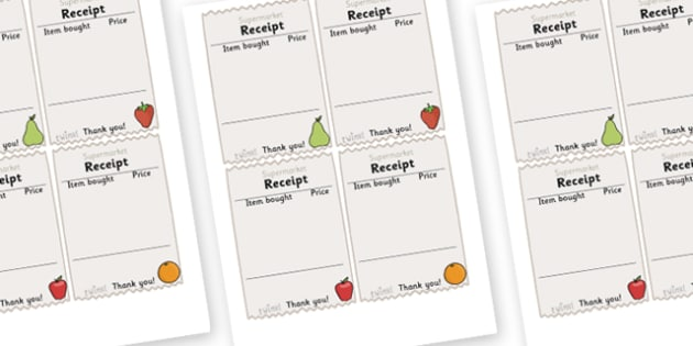 Role Play Receipts (Supermarket) - Role Play, receipt, role play area, supermarket, shop, shops, shop receipt, play receipt