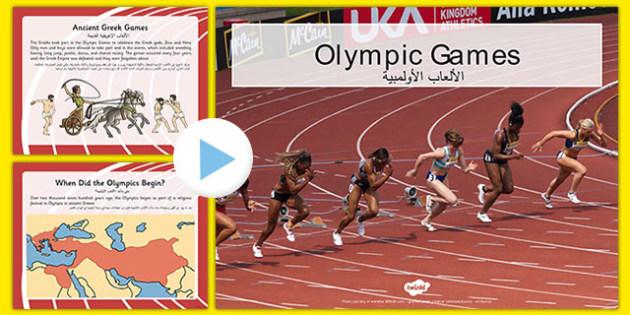Olympics Information PowerPoint Arabic Translation - arabic, Brazil, Rio 2016, Modern, Ancient Greek, Olympic Rings, Olympic Torch