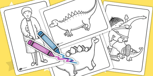 Colouring Sheets to Support Teaching on Harry and the Bucketful of Dinosaurs - colouring