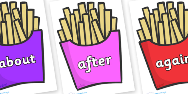 KS1 Keywords on French Fries - KS1, CLL, Communication language and literacy, Display, Key words, high frequency words, foundation stage literacy, DfES Letters and Sounds, Letters and Sounds, spelling