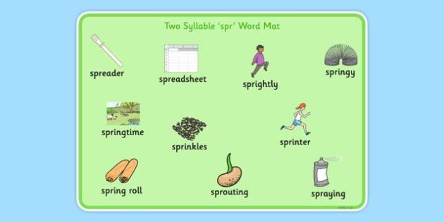 Two Syllable SPR Word Mat - sen, sound, spr sound, spr, two syllable, word mat