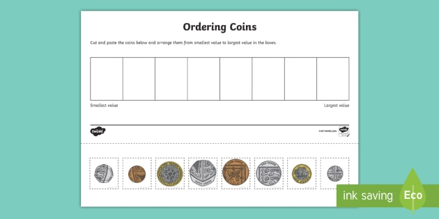 Coin Ordering Cut And Paste Worksheet Worksheet