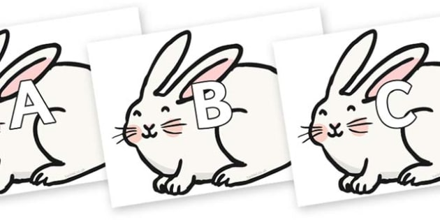 A-Z Alphabet on Chinese New Year Rabbit - A-Z, A4, display, Alphabet frieze, Display letters, Letter posters, A-Z letters, Alphabet flashcards