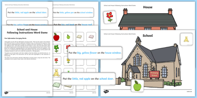 School and House Following Instructions – 5 ICWs Game