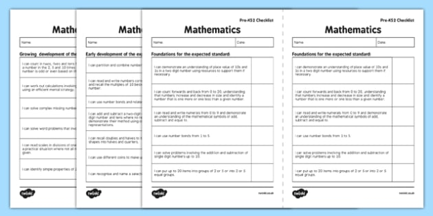 Interim Pre Key Stage 2 Standards for Maths I Can Checklists - interim, pre, keystage 2, standards, math, i can, checklist