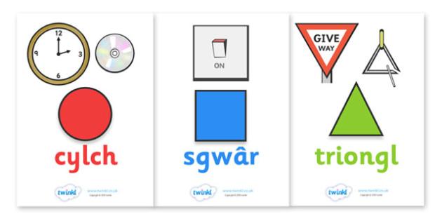 Posteri Siapiau 2D - Pethau Cyfarwydd - siapiau, siap, hape poster, Shape flashcards, Shape recognition, Shapes in the environment, Welsh, cymru, Wales, flascards