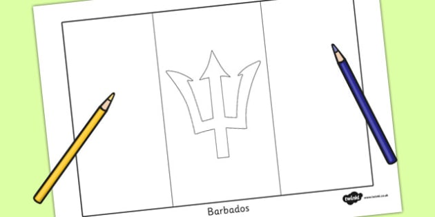 Barbados Flag Colouring Sheet - countries, geography, flags