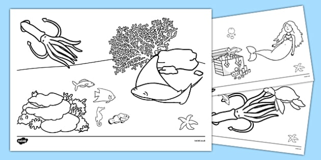 The Little Fish Colouring Sheets - tiddler, early years, eyfs, nursery, reception, fish, under the sea, ocean, colour, activity, sheet, wet play