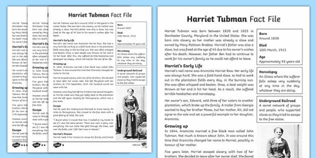 Harriet Tubman Differentiated Fact File Harriet Tubman – Harriet Tubman Worksheet