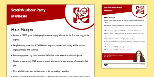 Scottish Elections 2016 Scottish Labour Party Manifesto Child Friendly - Scottish Elections, Politics, Holyrood 2016, Politicians, voting, electing, main pledges