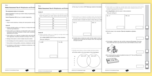 Year 6 Maths Assessment: Multiplication and Division Term 1 - maths, Autumn Term Maths Assessment