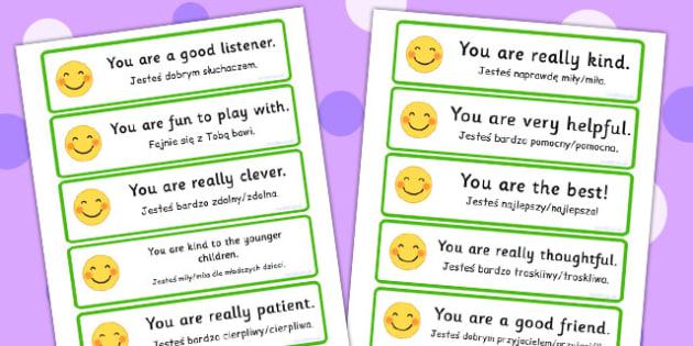 Polish Translation Giving Compliments Prompt Cards - polish