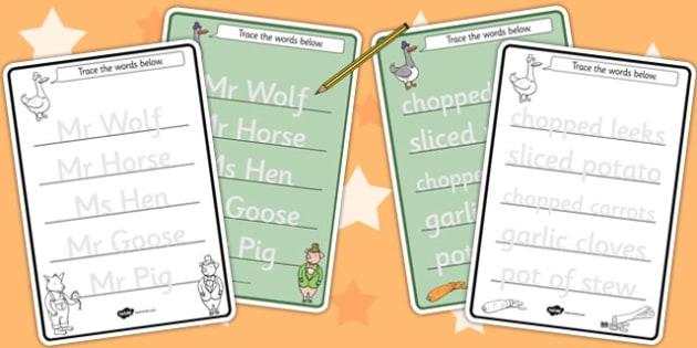 Trace the Words Worksheets to Support Teaching on What's The Time, Mr Wolf? - worksheet