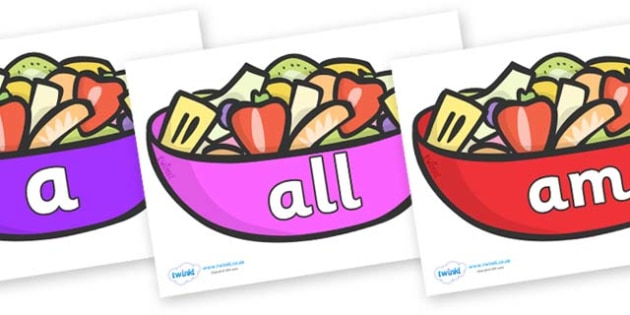 Foundation Stage 2 Keywords on Fruit Salad - FS2, CLL, keywords, Communication language and literacy,  Display, Key words, high frequency words, foundation stage literacy, DfES Letters and Sounds, Letters and Sounds, spelling