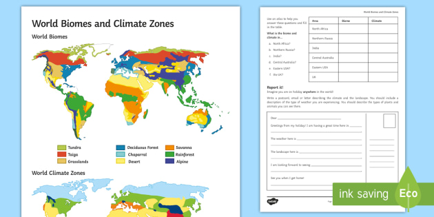 World Biomes and Climate Zones: Map Worksheet / Worksheet - Secondary
