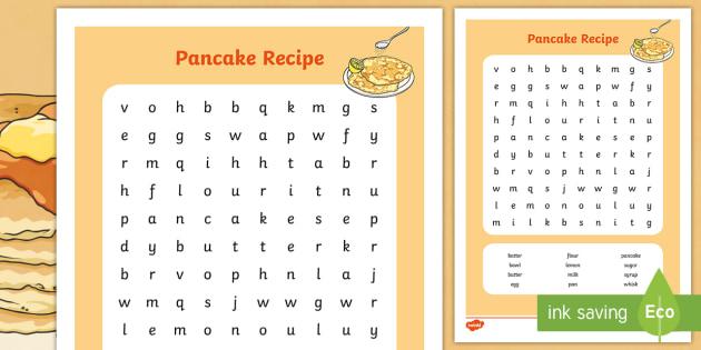 Pancake Recipe Wordsearch - pancake, recipe, word search, game